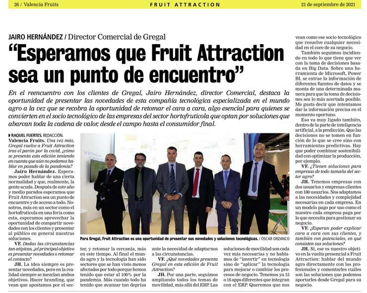Noticia fruit attraction 2021 de Gregal