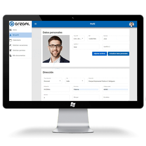 Software portal del empleado gestión de perfil