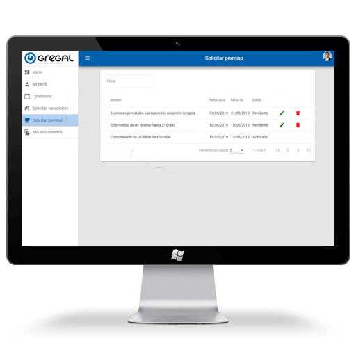 Software Portal del empleado gestión de permisos