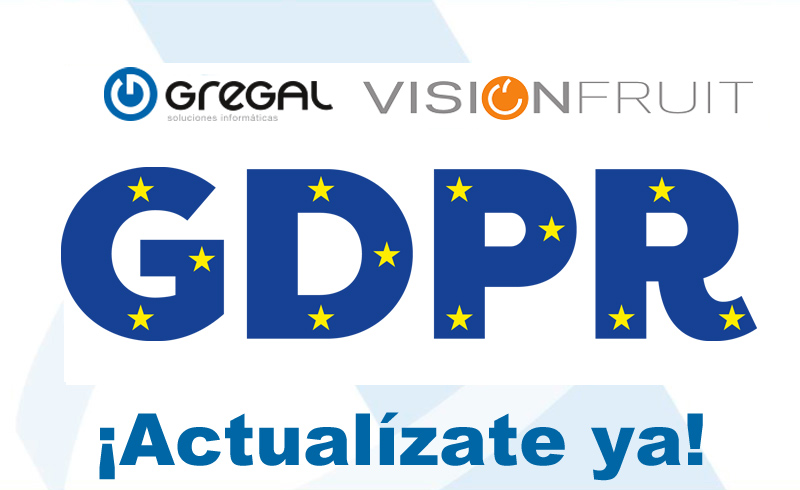 Disponible la actualización del reglamento RGPD solo en la aplicacionVisionFruit 2016