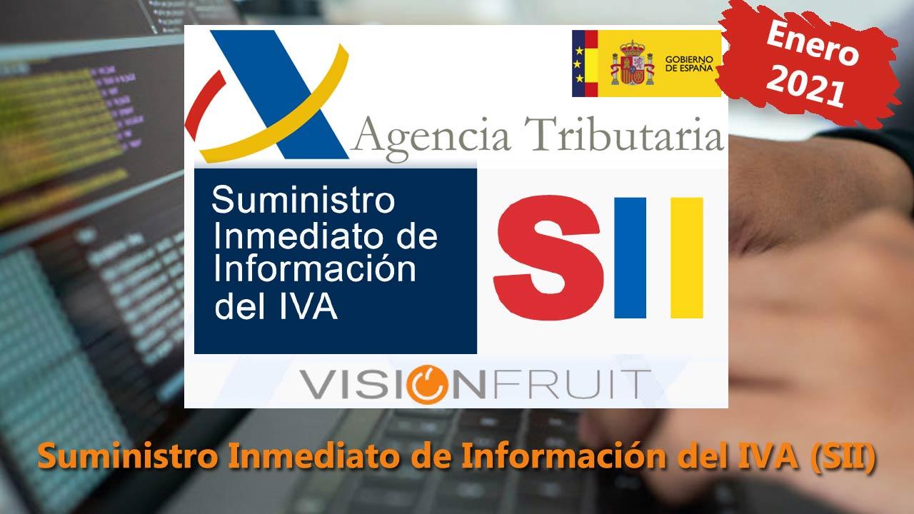 Novedades enero 2021 en el suministro Inmediato de Información del IVA (SII) en VisionFruit®